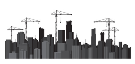 midtown: buildings and cranes silhouettes.