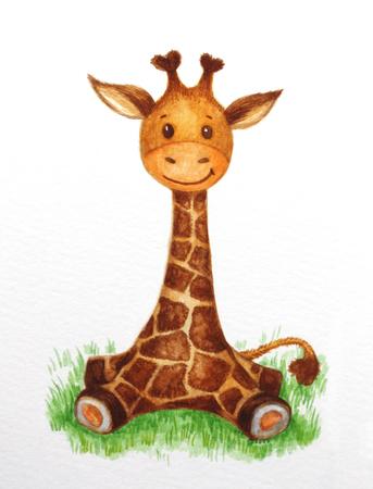 jirafa linda bebé sentado en la hierba, acuarela. Foto de archivo