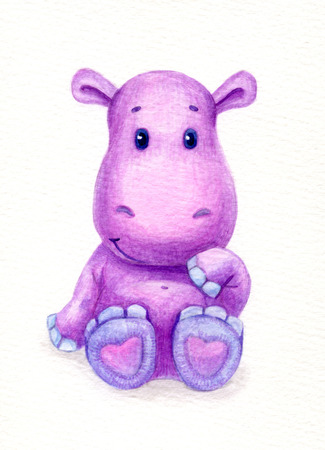 baby isolated: Cute baby hippopotamus, watercolor.