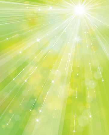 Vector green, spring background with rays, stars and lights.