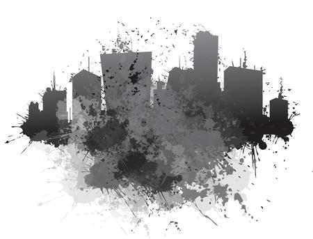 ベクトル抽象的な街並み、背景をはねかけます。