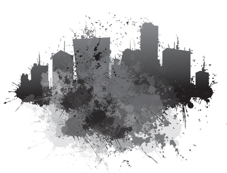 Vector abstract stadsbeeld, spatten achtergronden. Stock Illustratie
