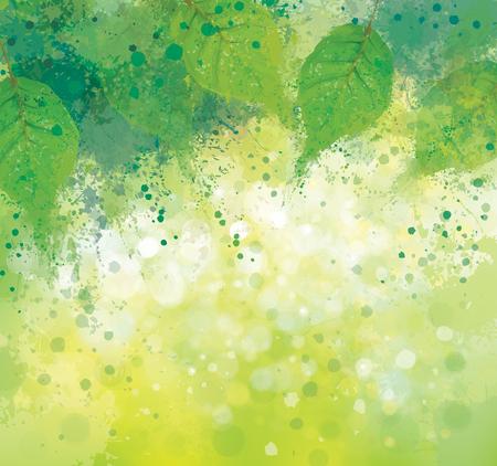 抽象的な春の緑の葉、自然の背景。  イラスト・ベクター素材