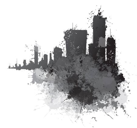 Abstract cityscape, splashing backgrounds.