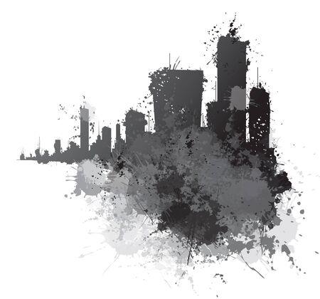 Abstract cityscape,  splashing  backgrounds. Illustration