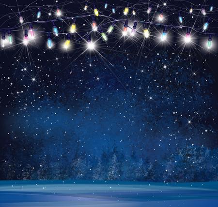 christmas night: Christmas lights on  night wonderland background.