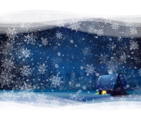 Night winterlandschap met huis en bos achtergrond, kerstkaart.