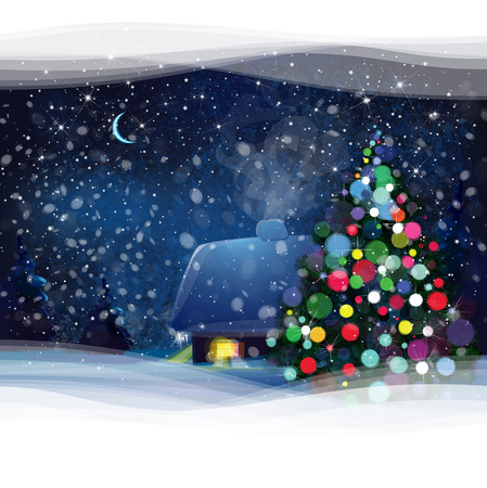 christmas night: Night winter landscape with house, Christmas tree and forest background, Christmas card.