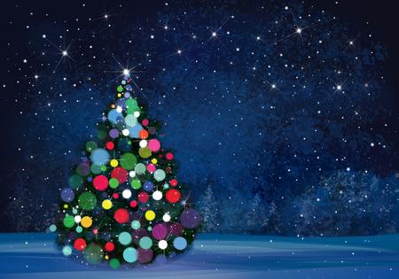 christmas night: Christmas tree on wonderland night background. Illustration
