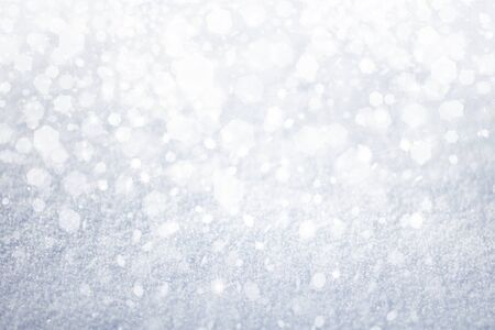 silver background: Winter background, snow, lights and stars.