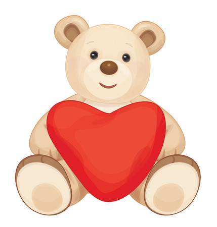 Brown que se sienta oso de dibujos animados con el corazón. Ilustración de vector