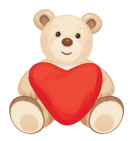 teddy bear cartoon: Brown sitting bear cartoon with heart.