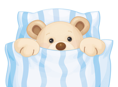 Cute sleeping baby bear in bed.