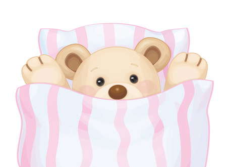 under the bed: Vector cute sleeping baby bear in bed.