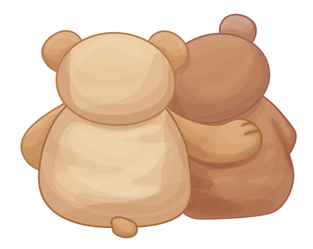 rear view: Vectot two teddy bears back isolated. Illustration