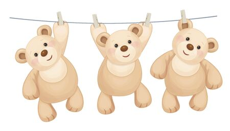pegs: Hanging teddy bears on clothing line with pegs
