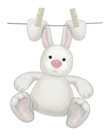 rabbit ears: Hanging white rabbit cartoon on clothing line with pegs.