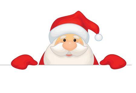 claus: Vector Santa Claus cartoon hiding by blank isolated. Illustration