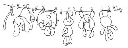 fila de personas: colgando conejos dibujos animados en la línea de ropa con las clavijas. Vectores