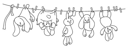 people in line: hanging  rabbits cartoons on clothing line with pegs.