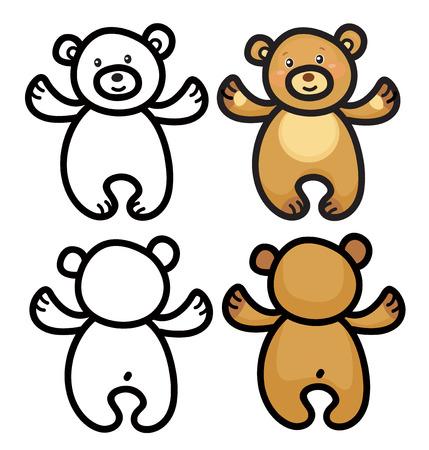 butt: teddy bears  cartoons isolated.