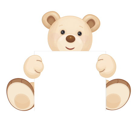 cute brown bear holding blank isolated.