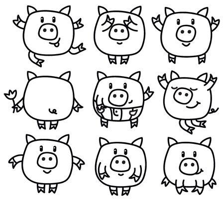 backside: cute pigs cartoons isolated. Illustration