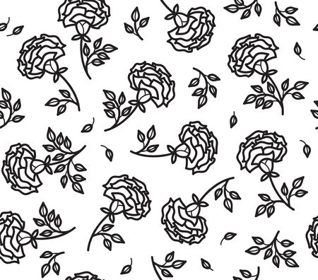 roses flowers seamless pattern, black silhouette isolated. Illustration