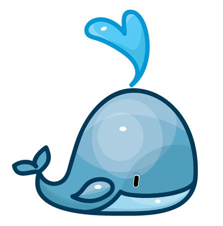 mignon dessin animé baleine isolé.