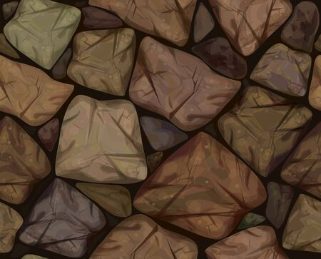Vector seamless texture brown stonewall. Vector Illustration