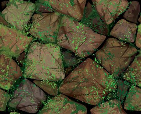 Vector nahtlose Textur braun mauern bedeckt Moos.