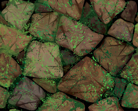 stone mason: Vector seamless texture brown stonewall covered moss.