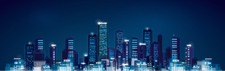 city at night: Vector night panoramic cityscape.