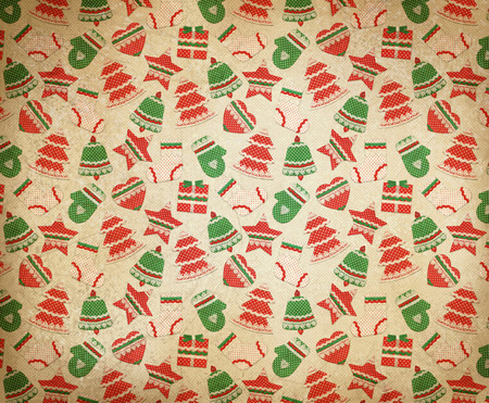 retro christmas: Christmas symbols retro background. Stock Photo