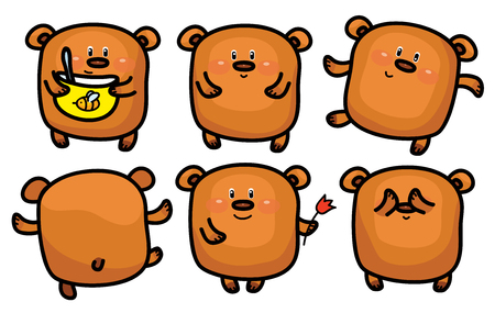 bum: Vector cute bears cartoons isolated.