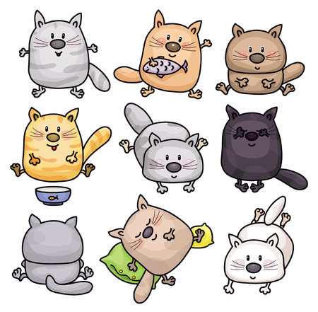 vector cartoons: Vector cute cats cartoons isolated. Illustration