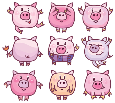 small butt: Vector cute pigs cartoons isolated.