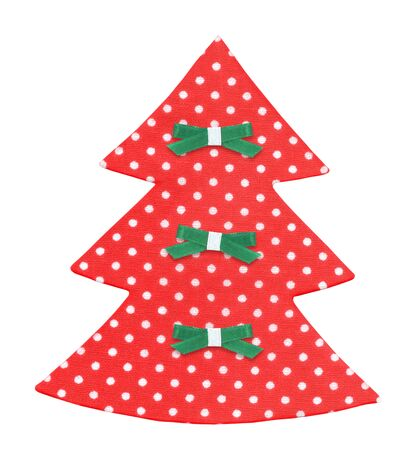 moños navideños: árbol de navidad hecho a mano decorado con cintas aisladas.