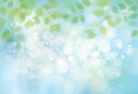 Vector green leaves on sunshine, blue, bokeh background.