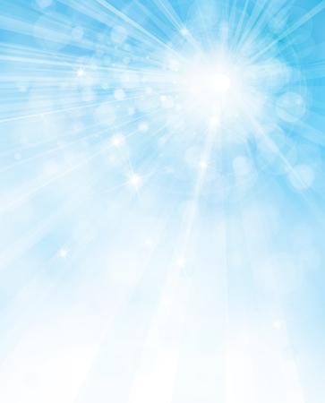 Wektor słońce tle niebieskiego nieba. Ilustracje wektorowe