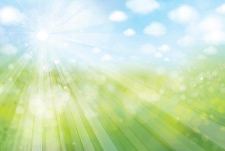 sunshine bokeh background, green field and blue sky.