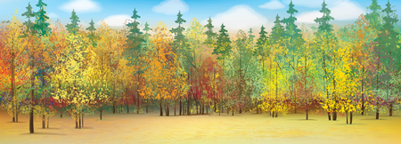 forest background: Vector autumn forest background. Illustration