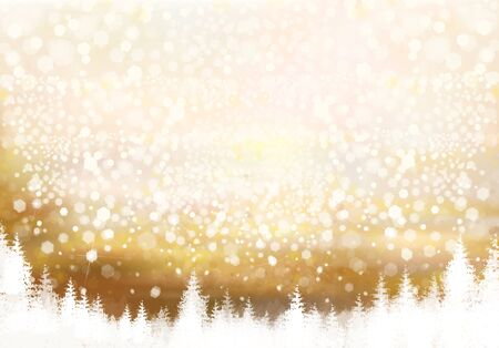 Vector golden Christmas background with forest border.