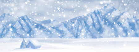 snowy hill: Vector  winter scene with  house at mountain background.
