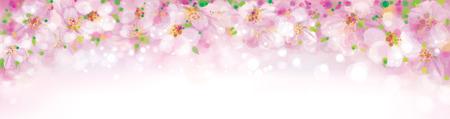 leaves frame: Vector blossoming sakura tree, pink bokeh banner.