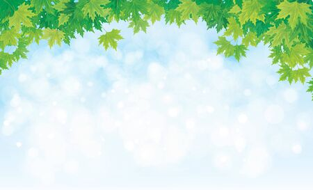 sunbeam background: Vector sky background with maple leaves border.