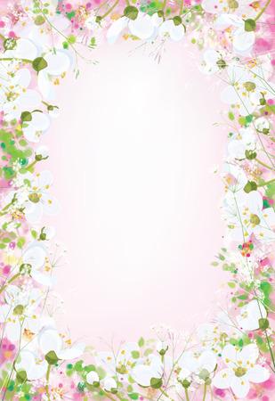 border flowers: Vector  floral background.