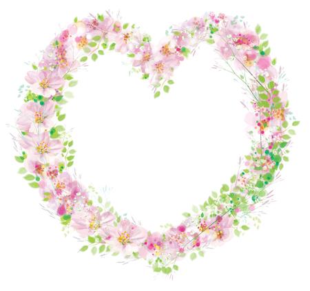 Vector bloemenframe, hartvorm.