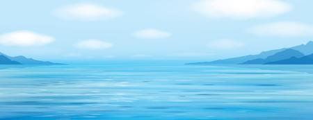 beach panorama: Blue sea scene  on  mountains  background.