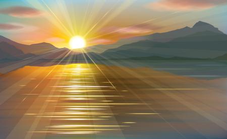 beach panorama: Vector   sea scene sunset  in mountains. Illustration